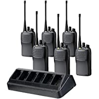 6 Pack of Vertex VX-451 Waterproof/Dust-tight UHF Two Way Radios PREPROGRAMMED with 6 Unit Chager (VAC-6058)