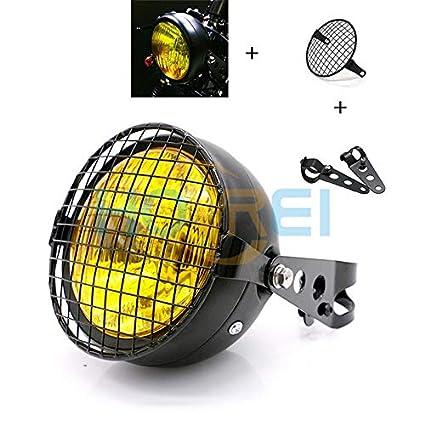 Amazon.com: NEW Motorcycle Retro Black Metal Grid 35W Halogen Front Headlight Lamp Kit Fits For CG125 GN125 Harley Cafe Racer Honda: Automotive