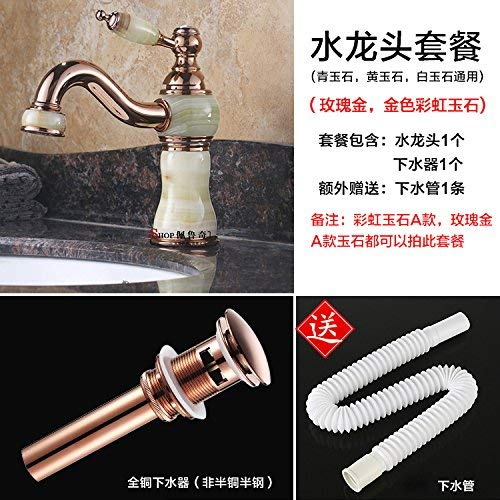 10 Oudan Basin Mixer Tap Bathroom Sink Faucet Natural jade full copper gold faucet hot and cold redary table continental antique wash basin, pink gold B (color   6)