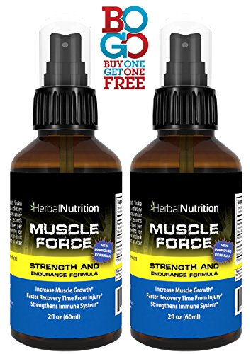 #1 Rated MUSCLE FORCE Strength and Endurance Spray!| Two Bottle Pack!|200mg Proprietary Growth Formula|Improve Strength and Recovery|2 oz Spray Bottle|30-Day Supply (Deer Antler Spray Best Brand)