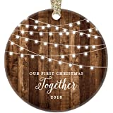 "Our First Christmas Together 2018, Gifts Couple Engaged Keepsake Ornament, Rustic Boyfriend Girlfriend 1st Xmas Farmhouse Collectible Present 3"" Flat Circle Porcelain w/Gold Ribbon & Free Gift Box"