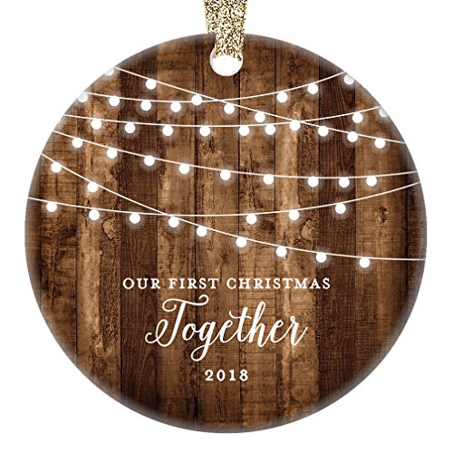 """Our First Christmas Together 2018, Gifts Couple Engaged Keepsake Ornament, Rustic Boyfriend Girlfriend 1st Xmas Farmhouse Collectible Present 3"""" Flat Circle Porcelain w/Gold Ribbon & Free Gift Box"""