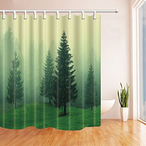 (Rrfwq Tree Decor Pine Trees in Woodland with Foggy Air in The Mountain Bath Curtain Polyester Fabric Waterproof Shower Curtain 70.8 X 70.8 inches Shower Curtains Green)