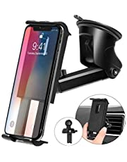 Kaome 2 in 1 Phone Holder for Car Mobile Phone Mount Suction Cup Dashboard Windshield Universal Air Vent for iPhone Xs/XR/X/Galaxy S10/S9 (Upgraded)