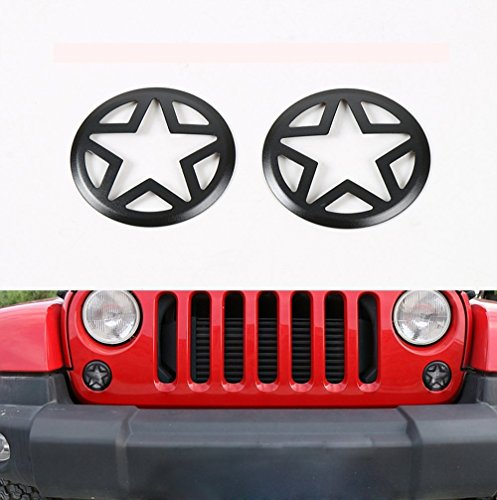 u-Box Five Stars Front Turn Signals Cover Guard for 07-17 Jeep Wrangler JK & Wrangler Unlimited