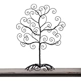 Adeco HD0017 Twisted Iron Tree Picture/ Photo/ Ornament/ Card Holder, Table Desk Top, Self Standing Scroll Design, Black with Antique Finish