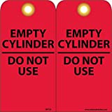 NMC RPT35G''EMPTY CYLINDER DO NOT USE'' Accident Prevention Tag with Brass Grommet, Unrippable Vinyl, 3'' Length, 6'' Height, White on Red (Pack of 25)