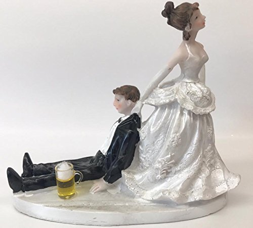 Wedding Bride Pulling Drunk Groom with Beer Cake Topper Centerpiece Decoration - Drunken Desserts