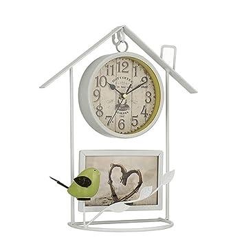 HIGJ Birdcage Relojes Iron Art Reloj de sobremesa Modelo Artesanía Marco de Fotos Reloj de Bolsillo Sin tictac Decoración Retro (Color : Blanco, ...