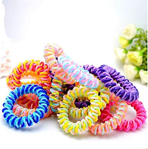 20Pcs Spiral Hair Ties Plastic Elastics Hair Ties No Crease Coil Hair Ties telephone cord hair ties Ponytail Holder For Women Girls (Multi-Colors) -