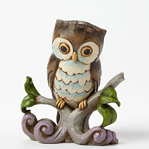 "Jim Shore Heartwood Creek Mini Owl on Branch Stone Resin Figurine, 3.25"" ()"