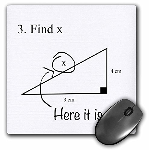 3dRose LLC 8 x 8 x 0.25 Inches Mouse Pad, Find X Here It Is Math Humor (mp_107310_1)