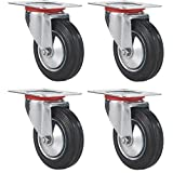 "Online Best Service 3"" Swivel Caster Wheels Rubber Base with Top Plate & Bearing Heavy Duty, Pack of 4"