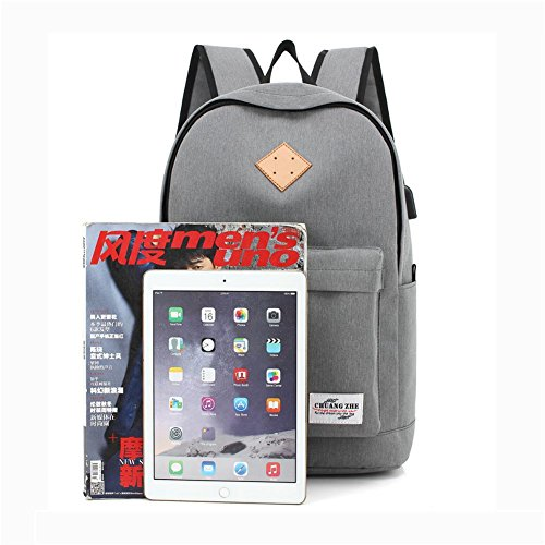 14 inches Rucksack Water Polyester Repellent port Backpack Student Laptop USB Package charging Leisure Black With wxfqS