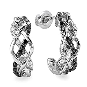 0.33 Carat (ctw) Sterling Silver Ladies Round Black & White Diamond Hoop Earrings 1/3 CT