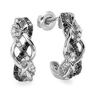 0.33 Carat (ctw) Sterling Silver Ladies Round Black & White Diamond Hoop Earrings 1/3 CT