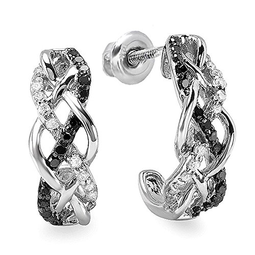 Dazzlingrock Collection 0.33 Carat (ctw) Ladies Round Black & White Diamond Hoop Earrings 1/3 CT, Sterling Silver