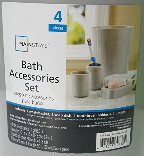 Amazon.com: Mainstays Bath Accessories Collection - 4 Piece Set - Soft Silver: Home & Kitchen