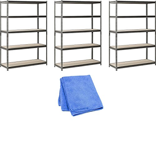 - Muscle Rack UR481872PB5P-SV Silver Vein Steel Storage Rack, 5 Adjustable Shelves, 4000 lb. Capacity, 72