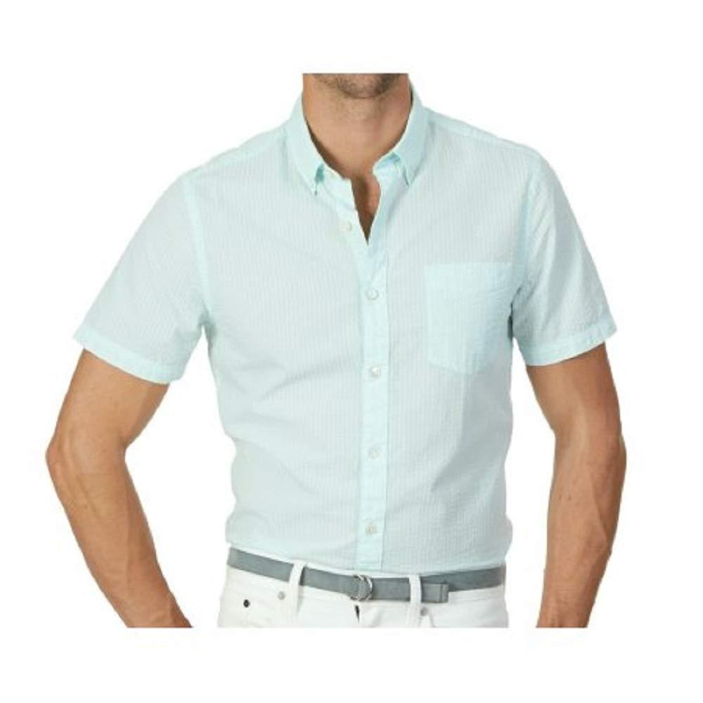 Nautica Mens Slim Fit Seersucker Short Sleeve Shirt At Amazon Mens