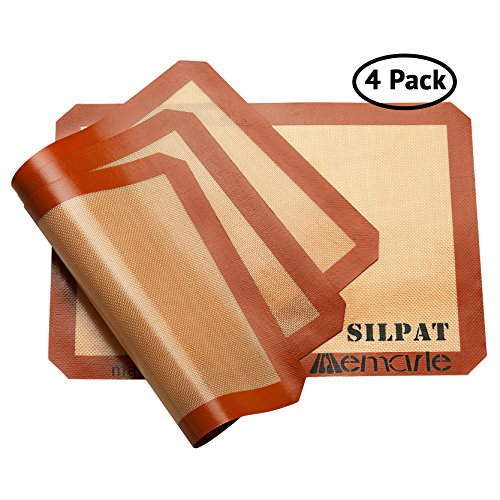 Silpat Baking Mat Set for Healthy Baking (4 Pack)   11-5/8-Inch x 16-1/2-Inch   Reusable Non-Stick Silicone Baking Mats   Use as Cookie Sheet Mat, for Pastries, Cooking and More