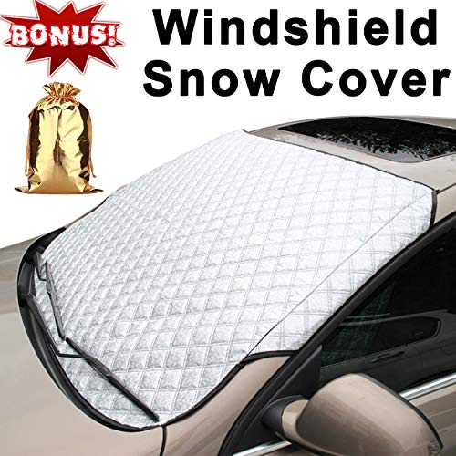 (Supernova Universal Car Windshield Cover for Snow and Ice & Sun Shade Protector, Fits for Minivans And Medium SUVs - 58