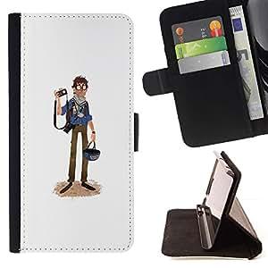 Momo Phone Case / Flip Funda de Cuero Case Cover - Periodista Caricatura de Turismo Fotografía Arte - Samsung Galaxy S4 IV I9500