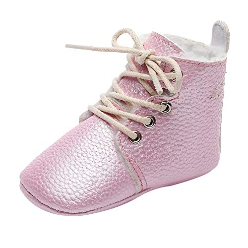 Voberry@ Baby Winter Warm High-top Lace Up Sneaker Boots Soft Sole Toddler First Walker Shoes (18-24Month, Pink)