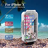 Waterproof Case for iPhone X/XS 60M/195FT Underwater O Ring Full Sealed Cover Snowproof Shockproof Dirtproof IPX8 Certified (White)