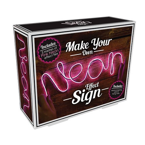 Fizz Creations Make Your Own Neon Effect Sign 3M Neon String Light Message Kit (Pink)