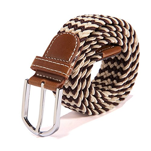 [RevoLity Mens Multicolor Elastic Fabric Woven Braided Stretch Webbed Belt with PU Leather Buckle Length 105cm Colour (Brown)] (Brn Buckle)