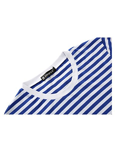 Girocollo Navy L Blue shirt T Manica Uomini Lunga Stripe Sourcingmap patterned Grigio vq58x