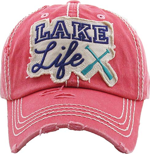 cf319395 H-212-LL52 Distressed Vintage Patch Hat: Lake Life, Coral