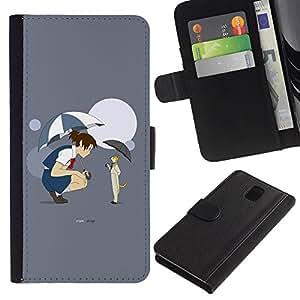 KingStore / Leather Etui en cuir / Samsung Galaxy Note 3 III / Anime cuento de hadas del gato de la muchacha paraguas de la historieta de la luna