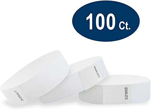 """100 3//4/"""" WHITE TYVEK WRISTBANDS WHITE PAPER WRISTBANDS,WRISTBANDS FOR EVENTS"""