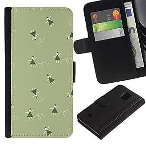 KingStore / Leather Etui en cuir / Samsung Galaxy S5 Mini, SM-G800 / Verde de la Navidad vacaciones de invierno