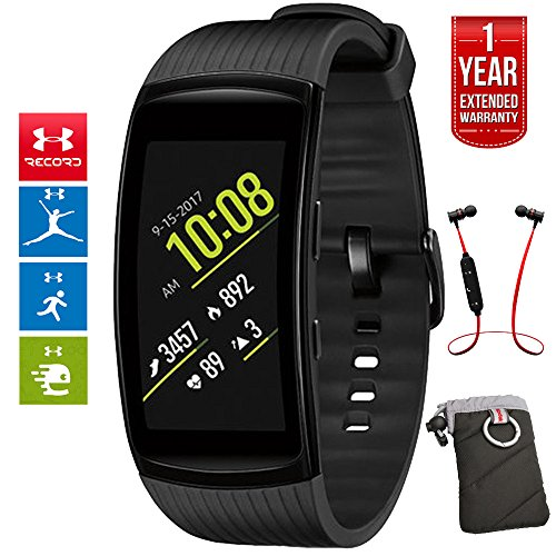 Samsung Gear Fit2 Pro Fitness Smartwatch - Black, Small (SM-R365NZKNXAR) + Fusion Bluetooth Headphones + Gear Black Jacket Case + 1 Year Extended Warranty by Beach Camera