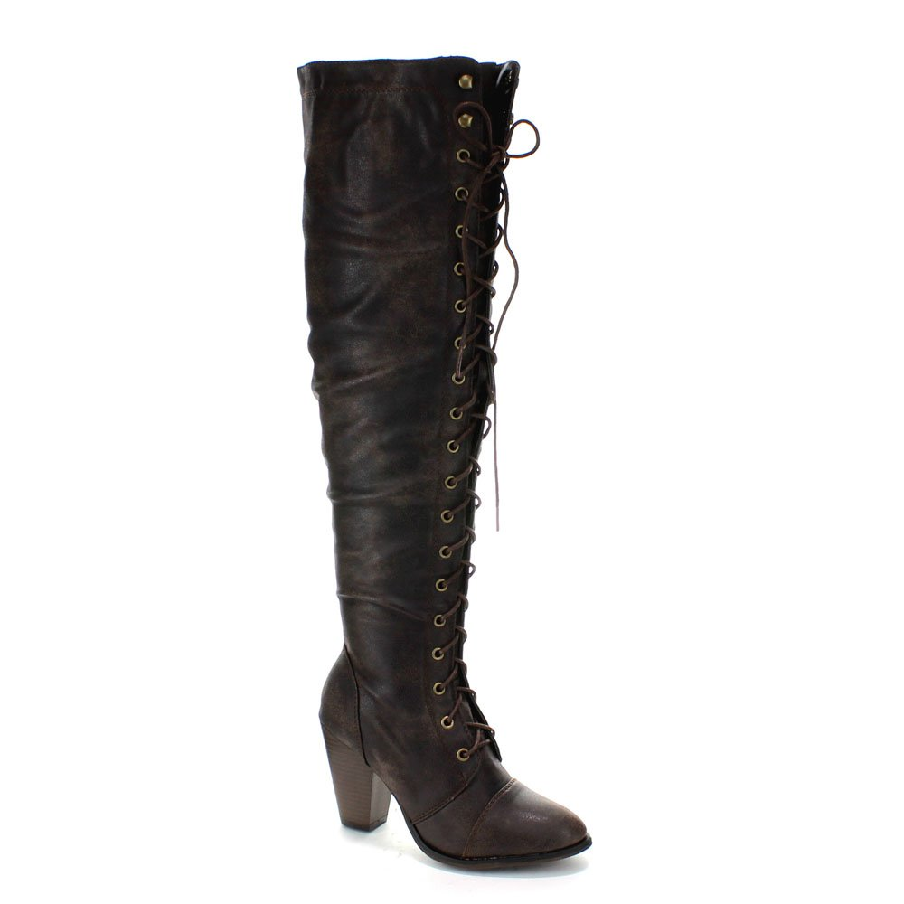 Womens Dark Brown Lace-Up Thigh High Chunky Heel Faux Leather Boots