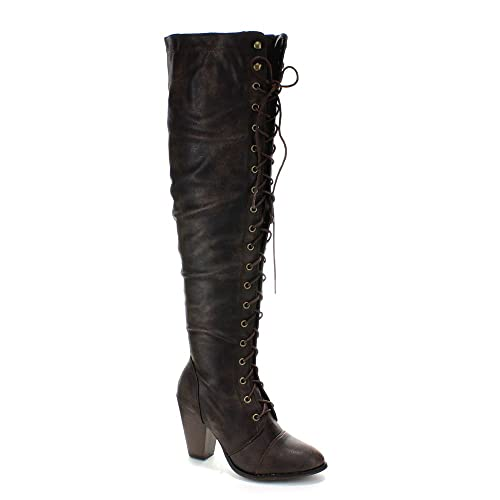 Forever Women's Knee-High Lace-up Boot Brown 7.5