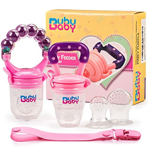 Bububaby Food Feeder/ Baby Fruit Feeder/ Fresh Food Feeder/ Silicone Pacifier/ No Messy Mesh Bag/ Baby Teething Toy/ 2 Extra Nipples/ 2 Pack (Pinky Purple)