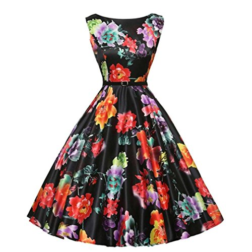 WOCACHI Women Dress Vintage Sleeveless Retro Evening Party Prom Dresses