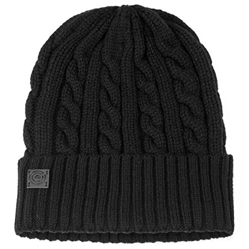 (Revony Evony Cable Style Knit Beanie - Black)