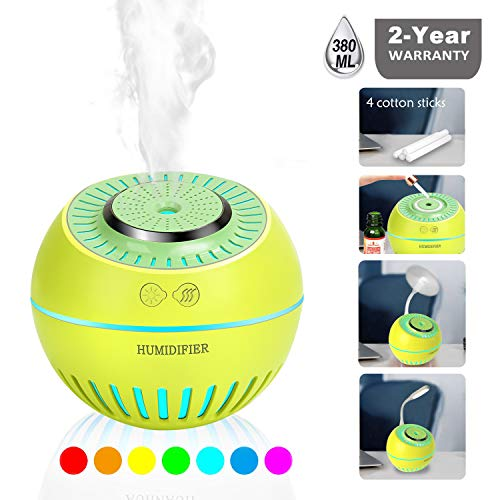 DCMEKA 2019 Humidifier, Diffuser, Nightlight for Nursery 380ML Ultrasonic Cool Mist Humidifier Mini for Bedroom Baby Home with 7 Color LED Lights Whisper-Quiet, Auto Shut-Off, 12h Air Humidifying