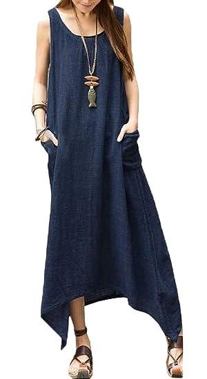d154d33726 ARTFFEL Womens Summer Solid Plus Size Cotton Linen Sleeveless Irregular Hem  Tunic Maxi Dress 1 XXS