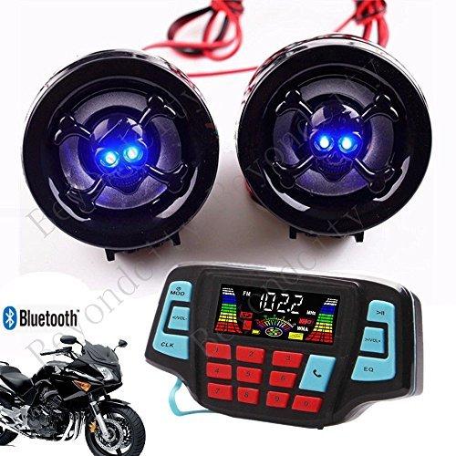 UTV ATV Bluetooth Amplifier Sound System Hand-free Speakers FM USB Audio System Stereo 2.5 Inch Speakers 12V Motorcycle Waterproof Audio FM Radio Stereo Speaker For iPhone/iPod/MP3 Skull …