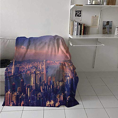 maisi City Digital Printing Blanket Dreamy View of Chinese City Hong Kong Urban Scene Concept Victoria Harbor Summer Quilt Comforter 62x60 Inch Pale Pink Night Blue