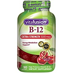 vitafusion Extra Strength Vitamin B12 fuses delicious and nutritious. Two Extra Strength B12 gummies provide 3000 mcg - 125000% daily value - of B12. Vitamin Better! At vitafusion, we believe taste and nutrition can be fused together to deliv...