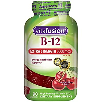 vitafusion Extra Strength Vitamin B12 fuses delicious and nutritious. Two Extra Strength B12 gummies provide 3000 mcg - 125000% daily value - of B12. Vitamin Better! [1] These statements have not been evaluated by the Food and Drug Administration. Th...