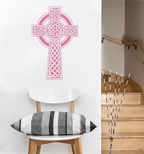 Celtic Cross Decal | Wall Sticker (Soft Pink, 22.5