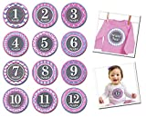 Sticky Bellies Monthly Milestone Stickers, Princess, 1-12 Months with additional Just Born Sticker